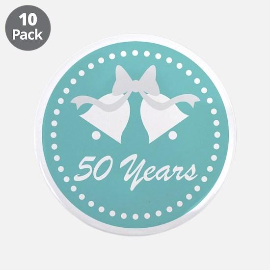 "50th Anniversary Wedding Bel 3.5"" Button (10 pack)"