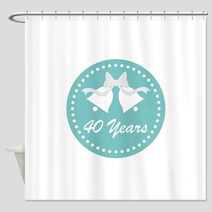 40th Anniversary Wedding Bells Shower Curtain