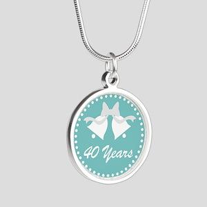 40th Anniversary Wedding Bel Silver Round Necklace