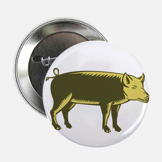 """Tamworth Pig Side Woodcut 2.25"""" Button (10 pack)"""