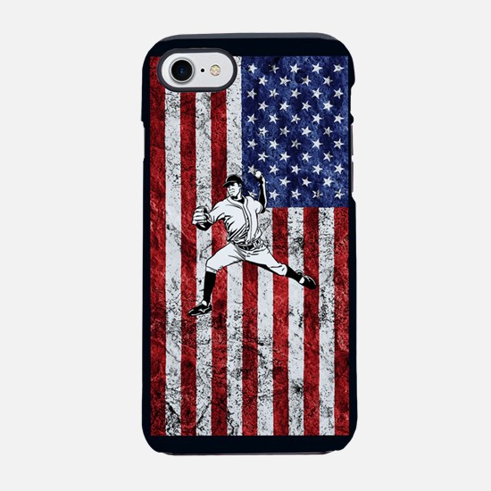Baseball Player On American Fl iPhone 7 Tough Case