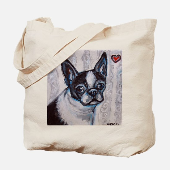 Cute Boston terrier valentine Tote Bag