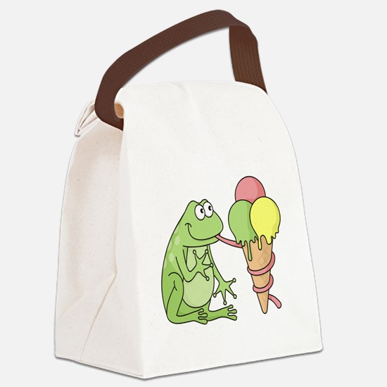 Frog with Icecream Canvas Lunch Bag