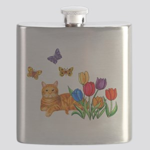Orange Cat In Tulips Flask
