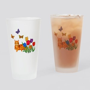 Orange Cat In Tulips Drinking Glass