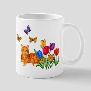 Orange Cat In Tulips Mug