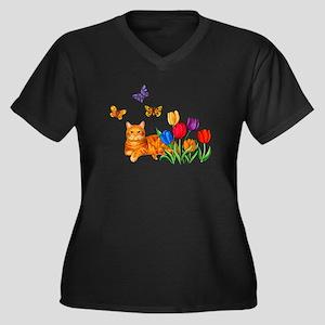 Orange Cat In Tulips Plus Size T-Shirt