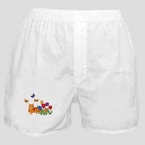 Orange Cat In Tulips Boxer Shorts