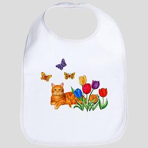 Orange Cat In Tulips Bib