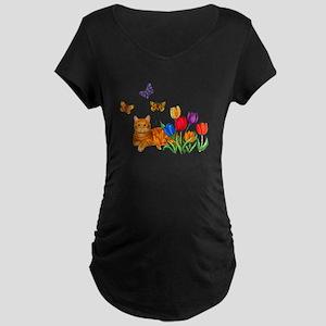 Orange Cat In Tulips Maternity T-Shirt