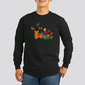 Orange Cat In Tulips Long Sleeve T-Shirt