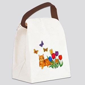 Orange Cat In Tulips Canvas Lunch Bag