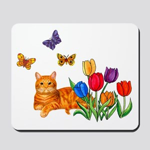 Orange Cat In Tulips Mousepad