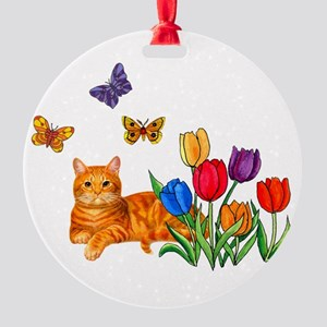 Orange Cat In Tulips Round Ornament