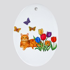 Orange Cat In Tulips Ornament (Oval)