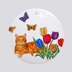 Orange Cat In Tulips Ornament (Round)