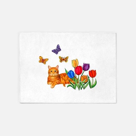 Orange Cat In Tulips 5'x7'Area Rug