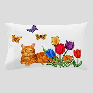 Orange Cat In Tulips Pillow Case