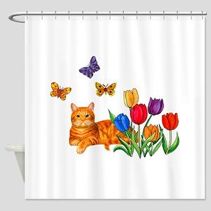 Orange Cat In Tulips Shower Curtain