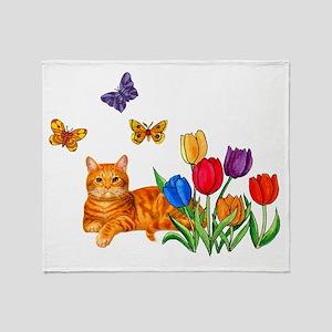 Orange Cat In Tulips Throw Blanket