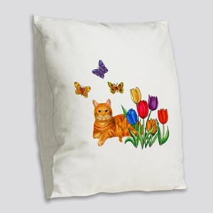 Orange Cat In Tulips Burlap Throw Pillow