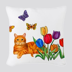 Orange Cat In Tulips Woven Throw Pillow