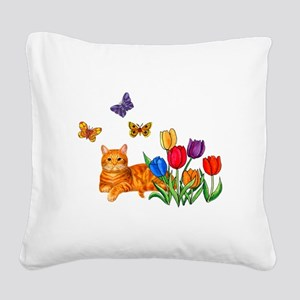Orange Cat In Tulips Square Canvas Pillow
