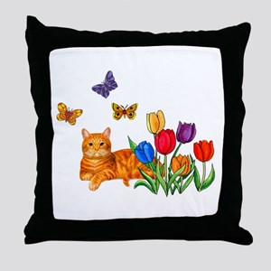 Orange Cat In Tulips Throw Pillow