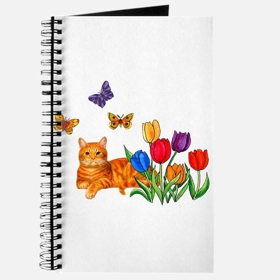 Orange Cat In Tulips Journal