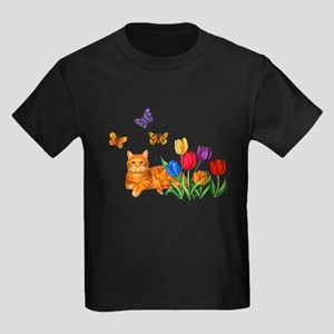 Orange Cat In Tulips T-Shirt