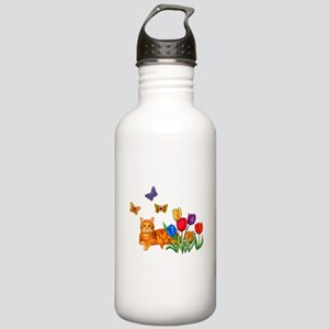 Orange Cat In Tulips Stainless Water Bottle 1.0L