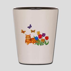 Orange Cat In Tulips Shot Glass
