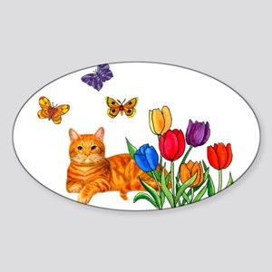 Orange Cat In Tulips Sticker
