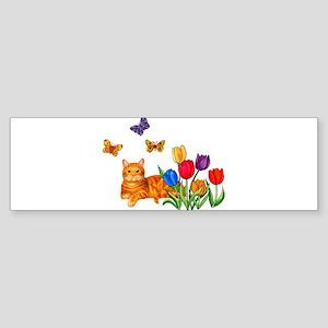 Orange Cat In Tulips Bumper Sticker