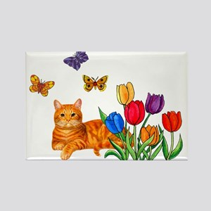 Orange Cat In Tulips Magnets