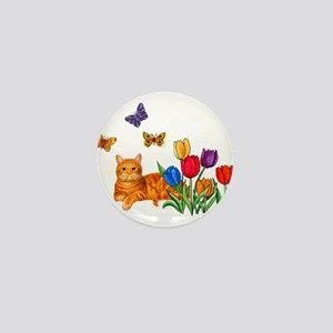 Orange Cat In Tulips Mini Button