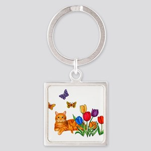 Orange Cat In Tulips Keychains