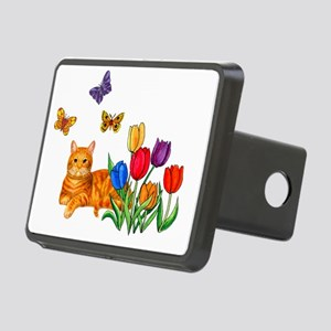 Orange Cat In Tulips Rectangular Hitch Cover