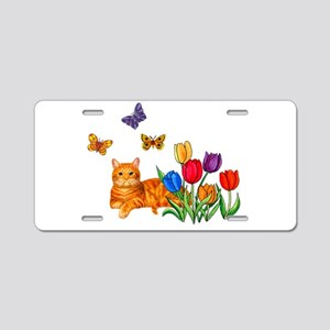 Orange Cat In Tulips Aluminum License Plate