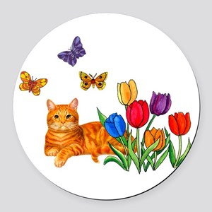 Orange Cat In Tulips Round Car Magnet