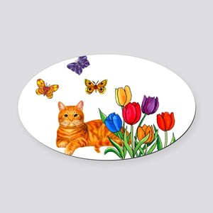 Orange Cat In Tulips Oval Car Magnet