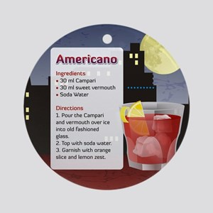 Americano Cocktail Recipe Ornament (Round)