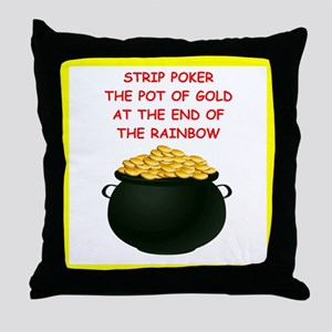 strip poker joke Throw Pillow