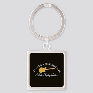 Playing Guitar Is My Retirement Pl Square Keychain