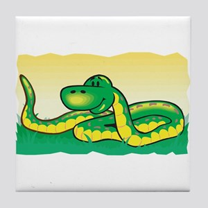 Cute Snake in Grass Tile Coaster