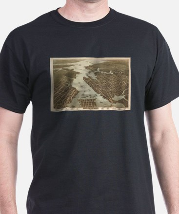 Vintage Map of Norfolk and Portsmouth VA ( T-Shirt