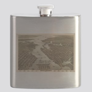 Vintage Map of Norfolk and Portsmouth VA (18 Flask