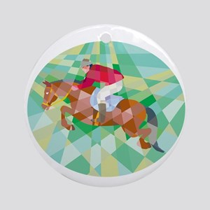 Equestrian Show Jumping Oval Low Polygon Ornament