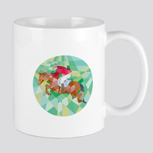 Equestrian Show Jumping Oval Low Polygon Mugs