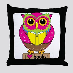 Owl Love Books Throw Pillow